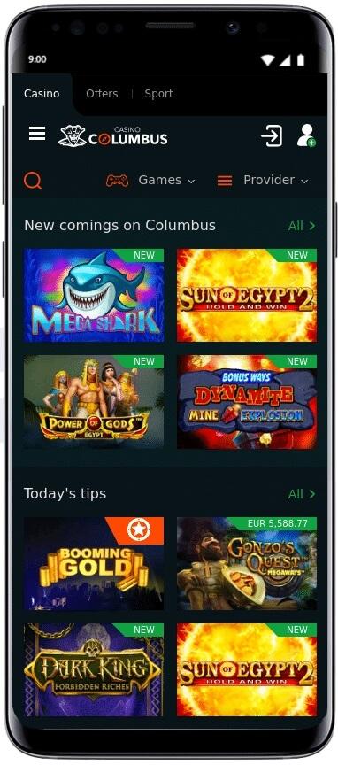 Aplicația Casino Columbus pentru iOS și Android